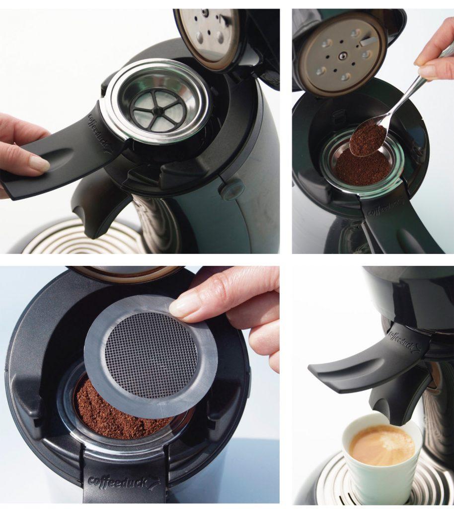 coffeduck navulsysteem vor nespresso en senseo
